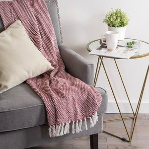 Red and White Knit Throw Blanket